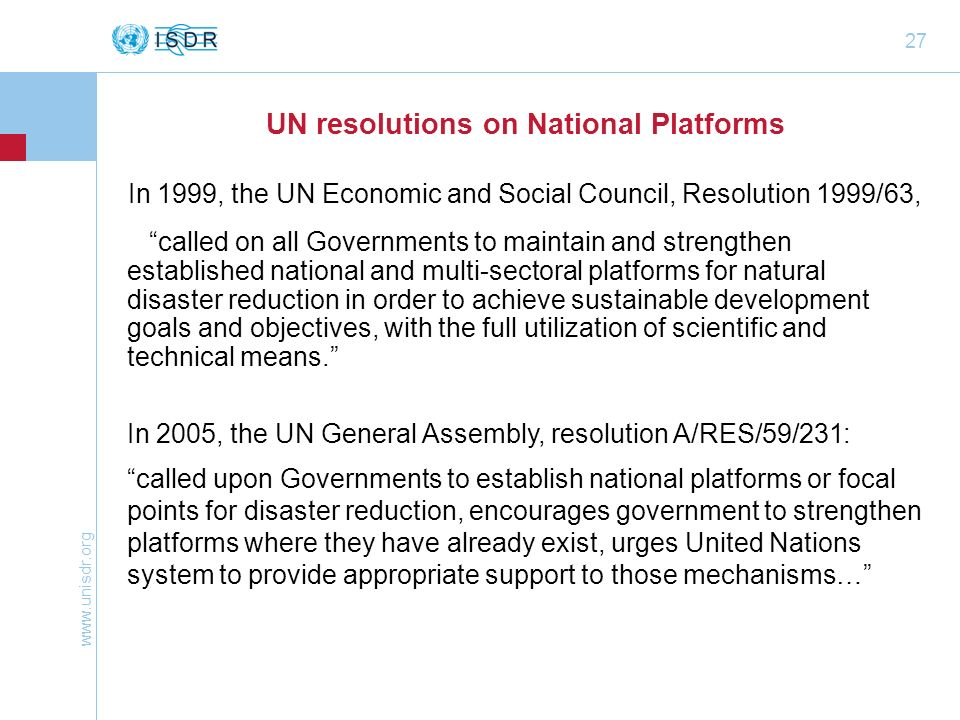 UN resolutions on National Platforms