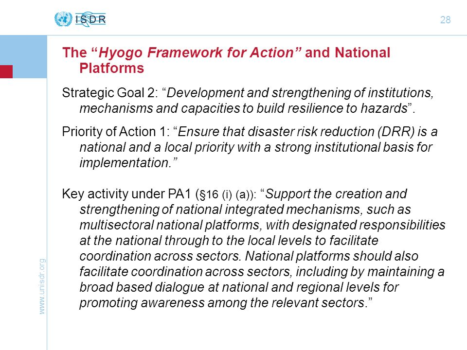 The Hyogo Framework for Action and National Platforms