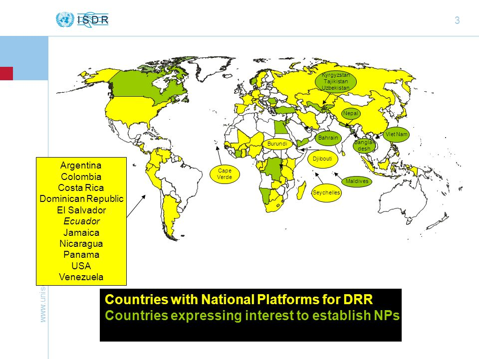 Countries with National Platforms for DRR