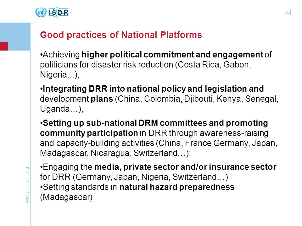 Good practices of National Platforms