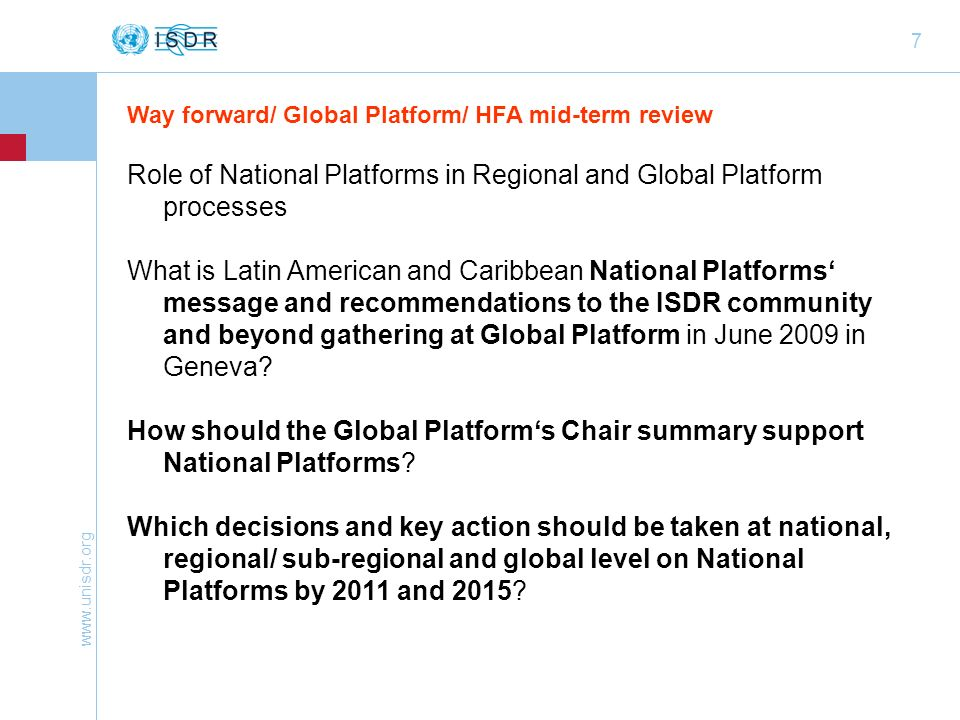 Role of National Platforms in Regional and Global Platform processes