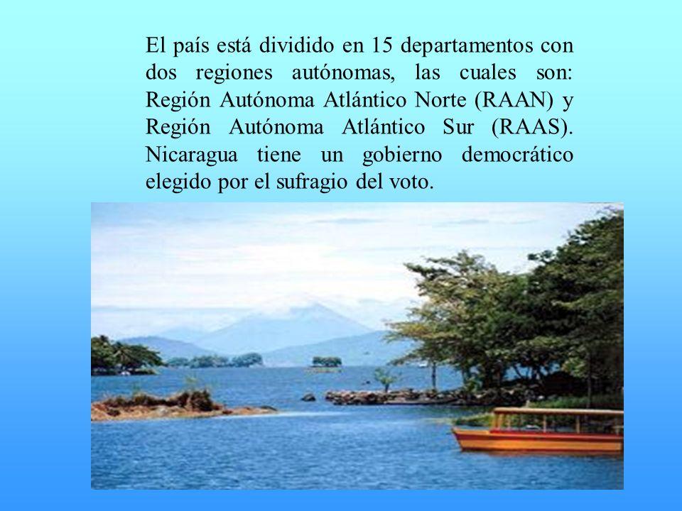 El país está dividido en 15 departamentos con dos regiones autónomas, las cuales son: Región Autónoma Atlántico Norte (RAAN) y Región Autónoma Atlántico Sur (RAAS).