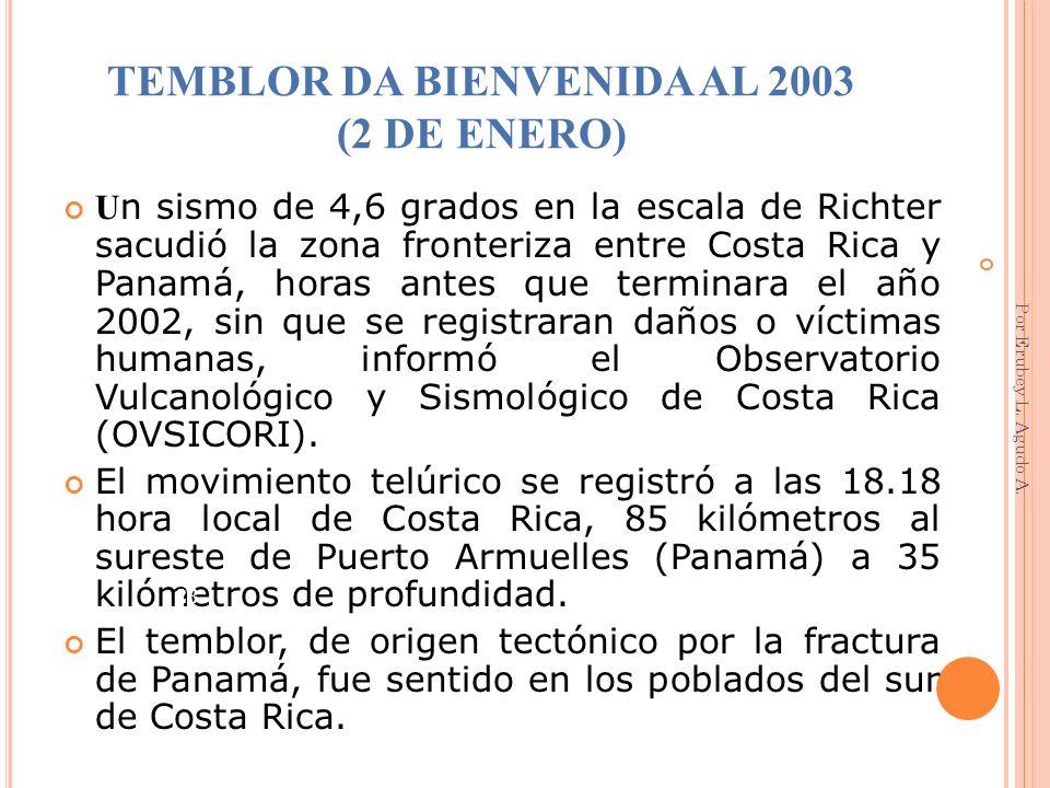 TEMBLOR DA BIENVENIDA AL 2003 (2 DE ENERO)
