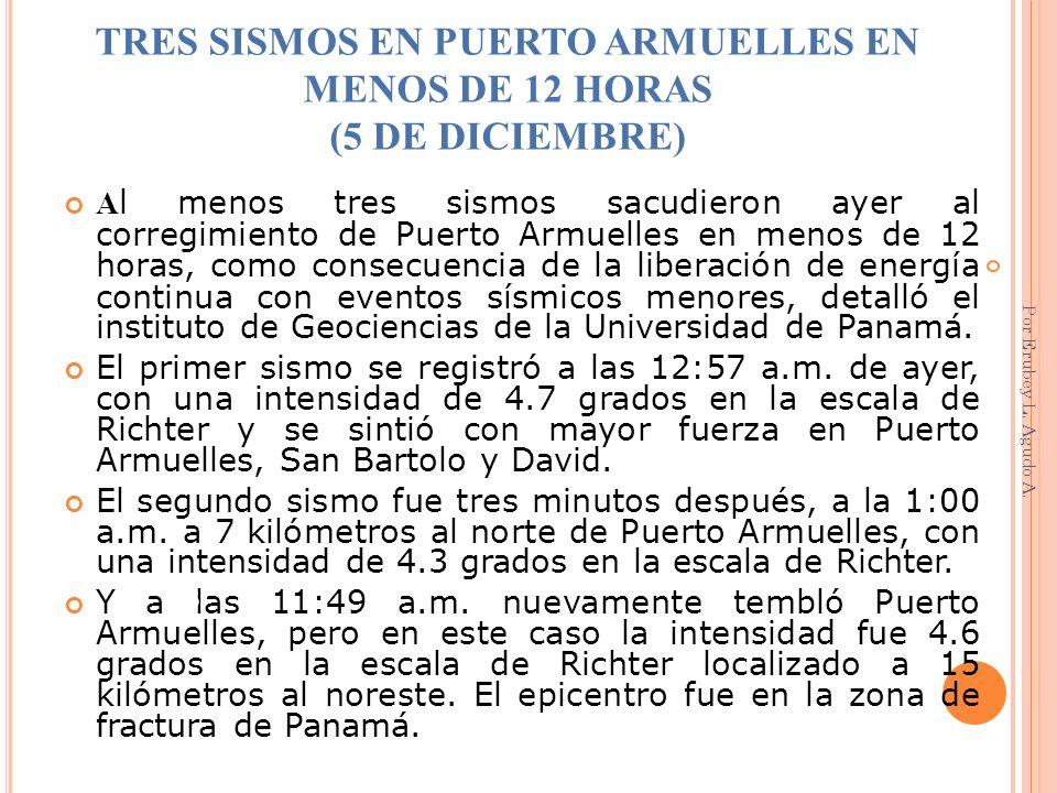 TRES SISMOS EN PUERTO ARMUELLES EN MENOS DE 12 HORAS (5 DE DICIEMBRE)