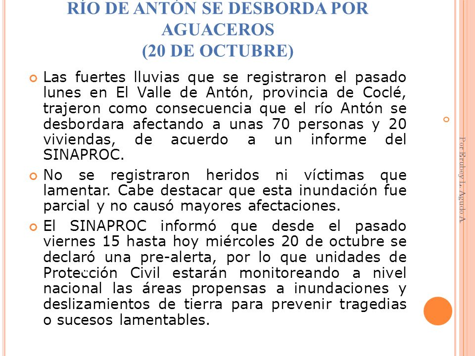 RÍO DE ANTÓN SE DESBORDA POR AGUACEROS (20 DE OCTUBRE)