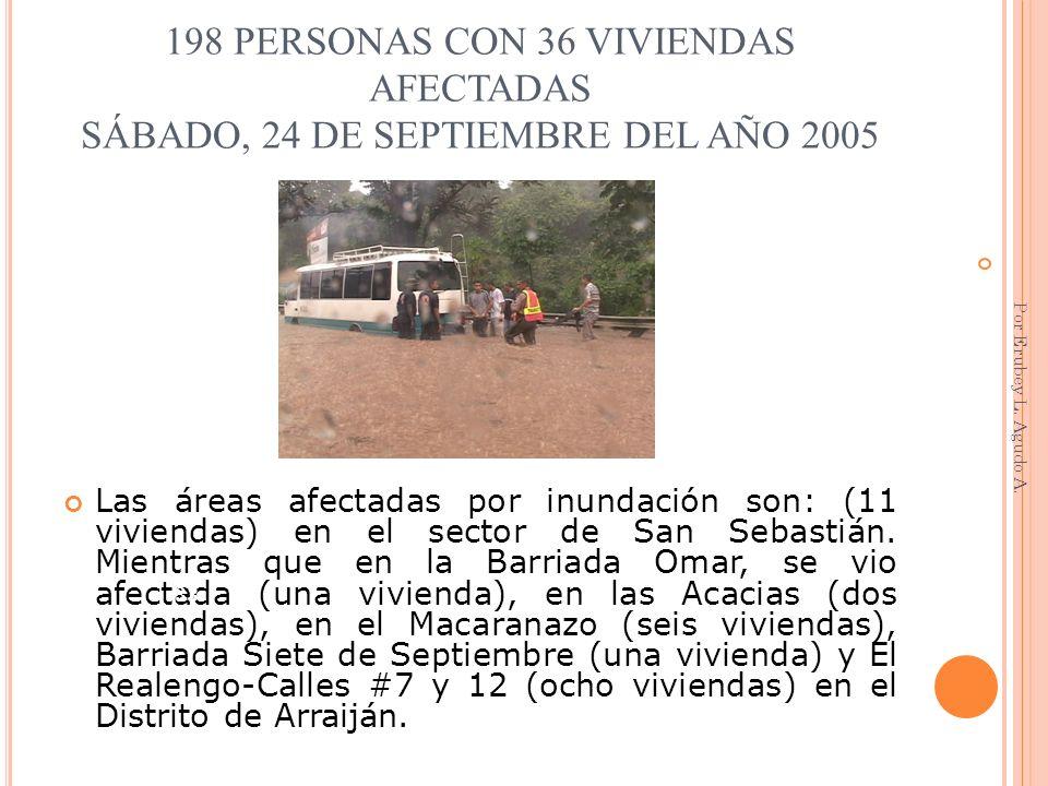 198 PERSONAS CON 36 VIVIENDAS AFECTADAS SÁBADO, 24 DE SEPTIEMBRE DEL AÑO 2005