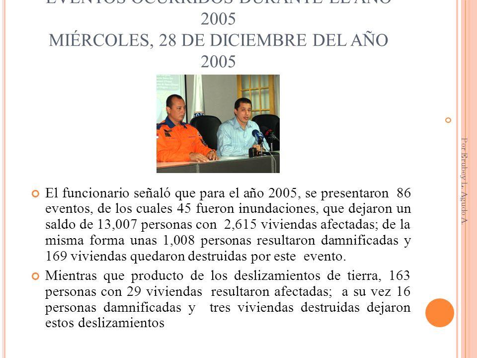 EVENTOS OCURRIDOS DURANTE EL AÑO 2005 MIÉRCOLES, 28 DE DICIEMBRE DEL AÑO 2005