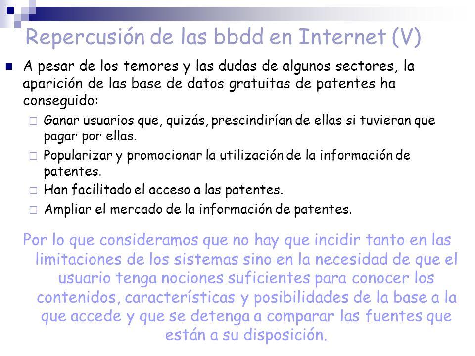 Repercusión de las bbdd en Internet (V)
