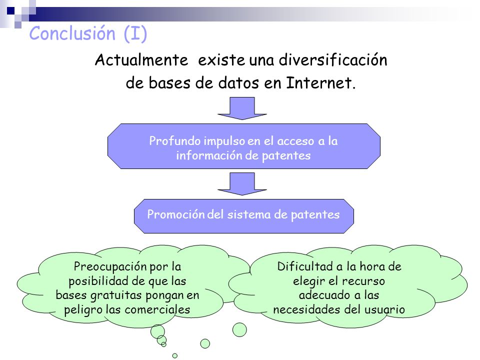 Conclusión (I) Actualmente existe una diversificación