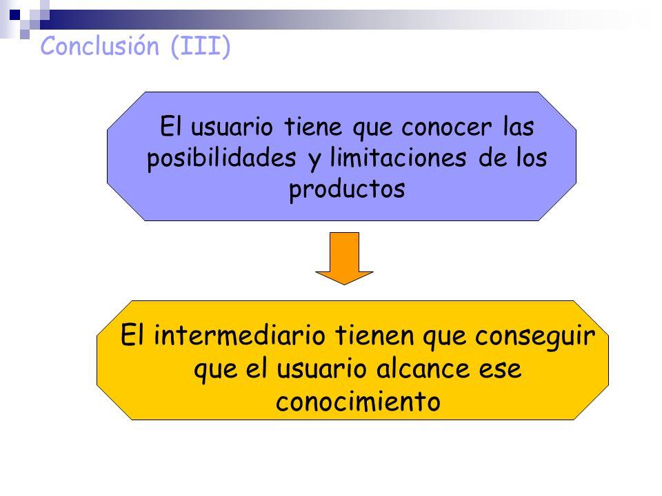 Conclusión (III) El usuario tiene que conocer las posibilidades y limitaciones de los productos.