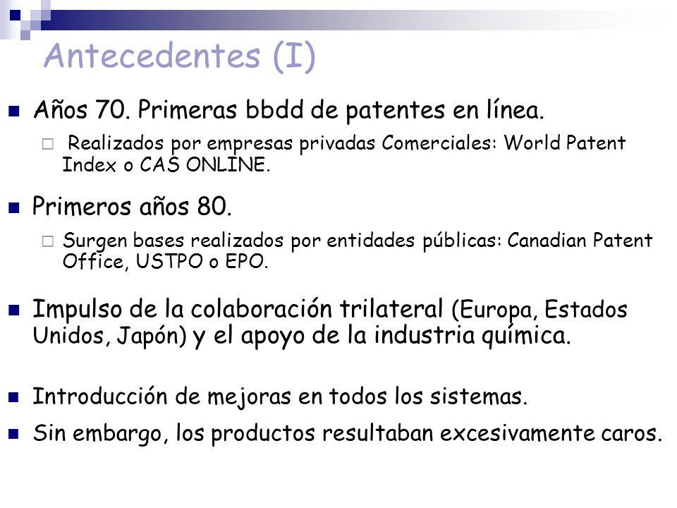Antecedentes (I) Años 70. Primeras bbdd de patentes en línea.