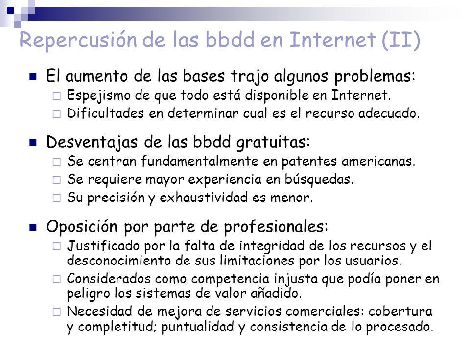 Repercusión de las bbdd en Internet (II)