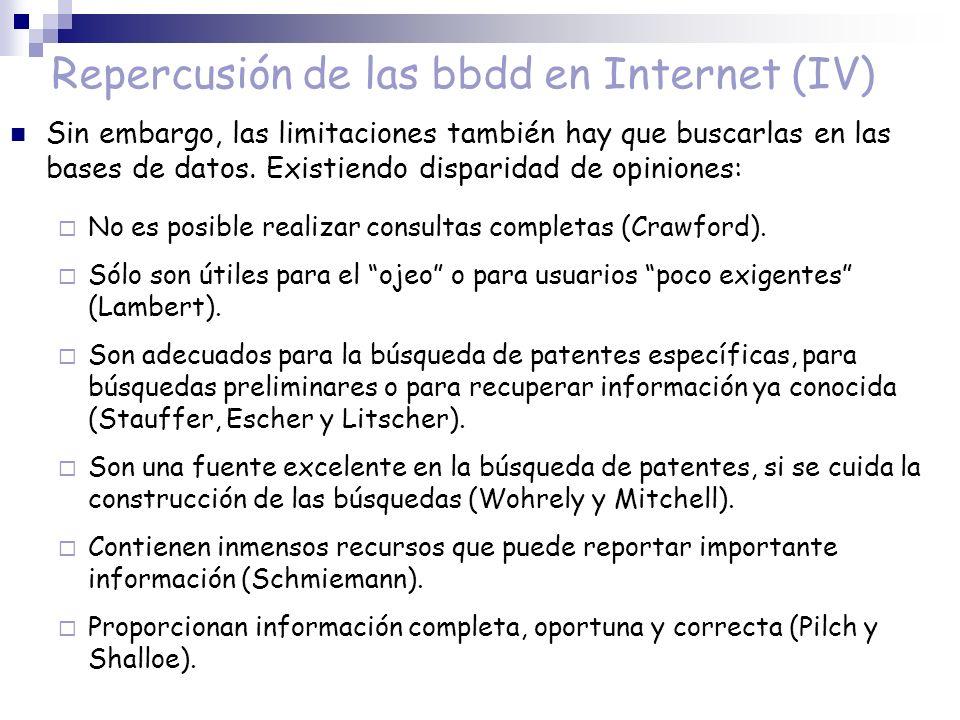 Repercusión de las bbdd en Internet (IV)