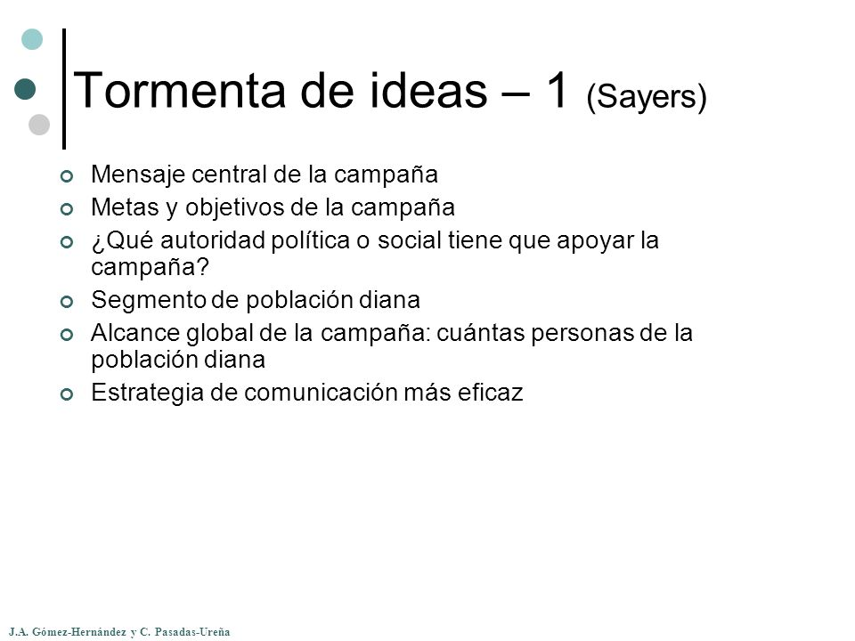 Tormenta de ideas – 1 (Sayers)