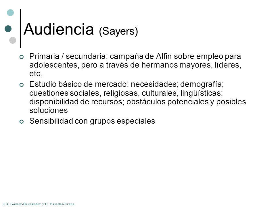 Audiencia (Sayers) Primaria / secundaria: campaña de Alfin sobre empleo para adolescentes, pero a través de hermanos mayores, líderes, etc.