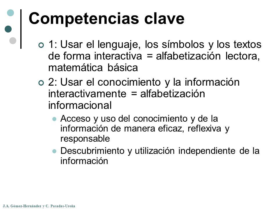 Competencias clave 1: Usar el lenguaje, los símbolos y los textos de forma interactiva = alfabetización lectora, matemática básica.