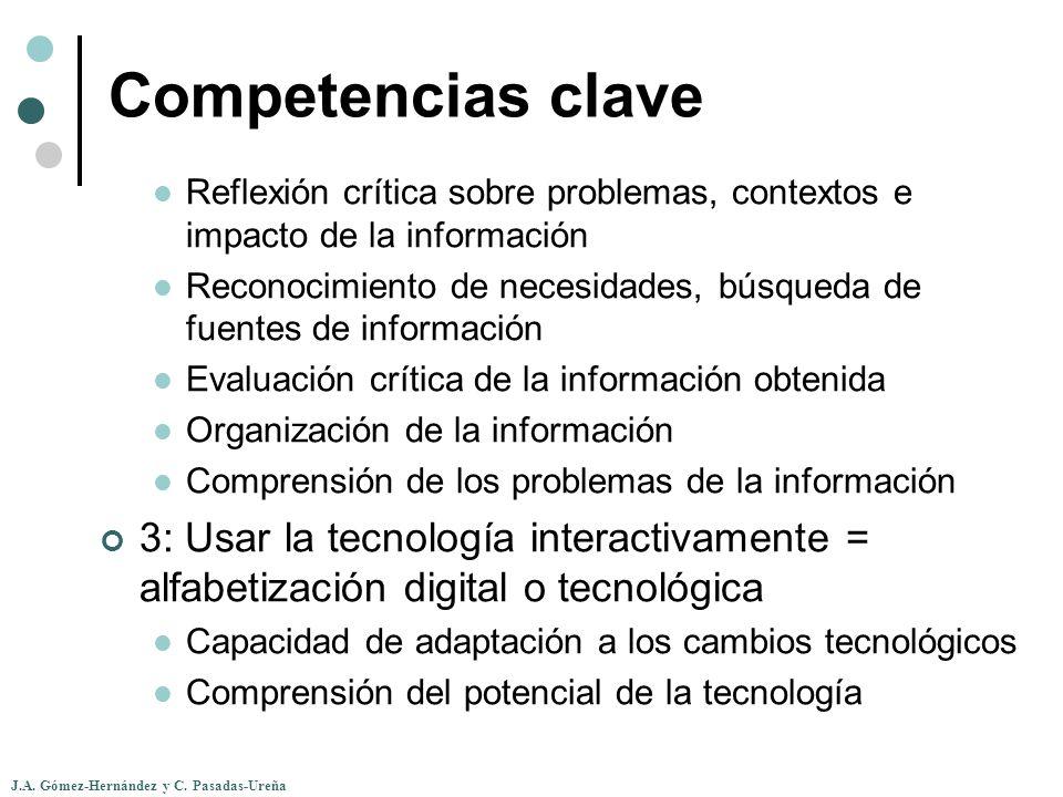 Competencias clave Reflexión crítica sobre problemas, contextos e impacto de la información.