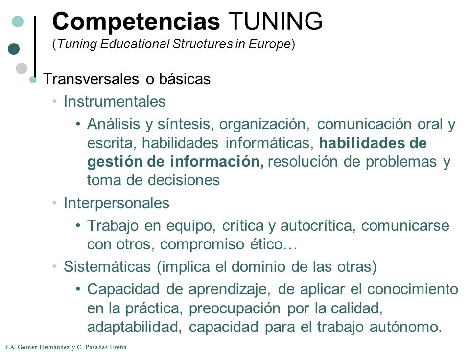 Competencias TUNING (Tuning Educational Structures in Europe)