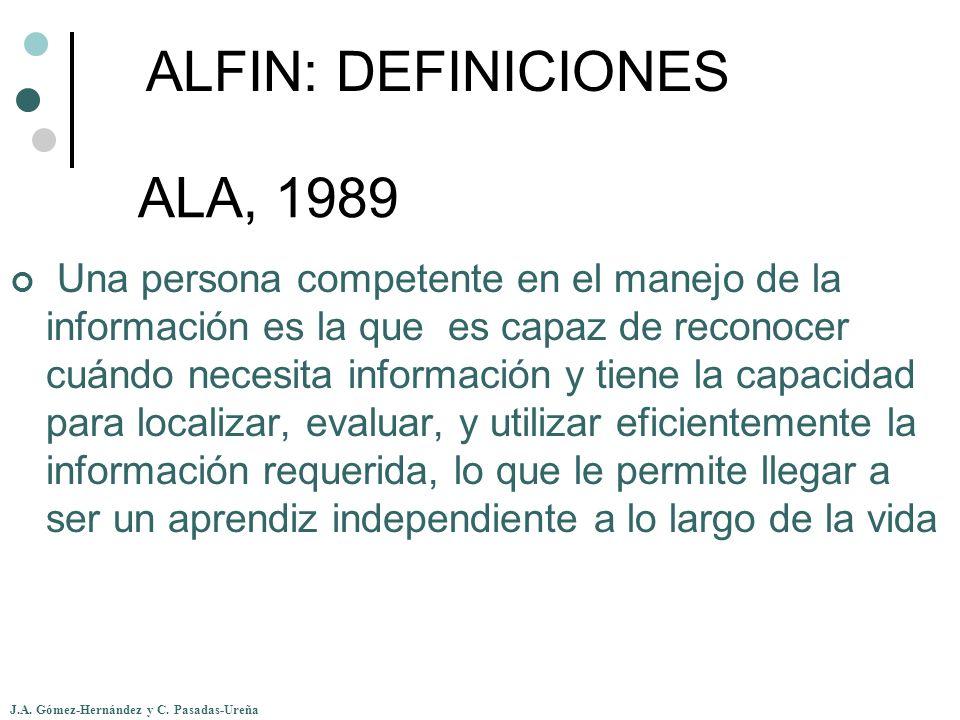 ALFIN: DEFINICIONES ALA, 1989