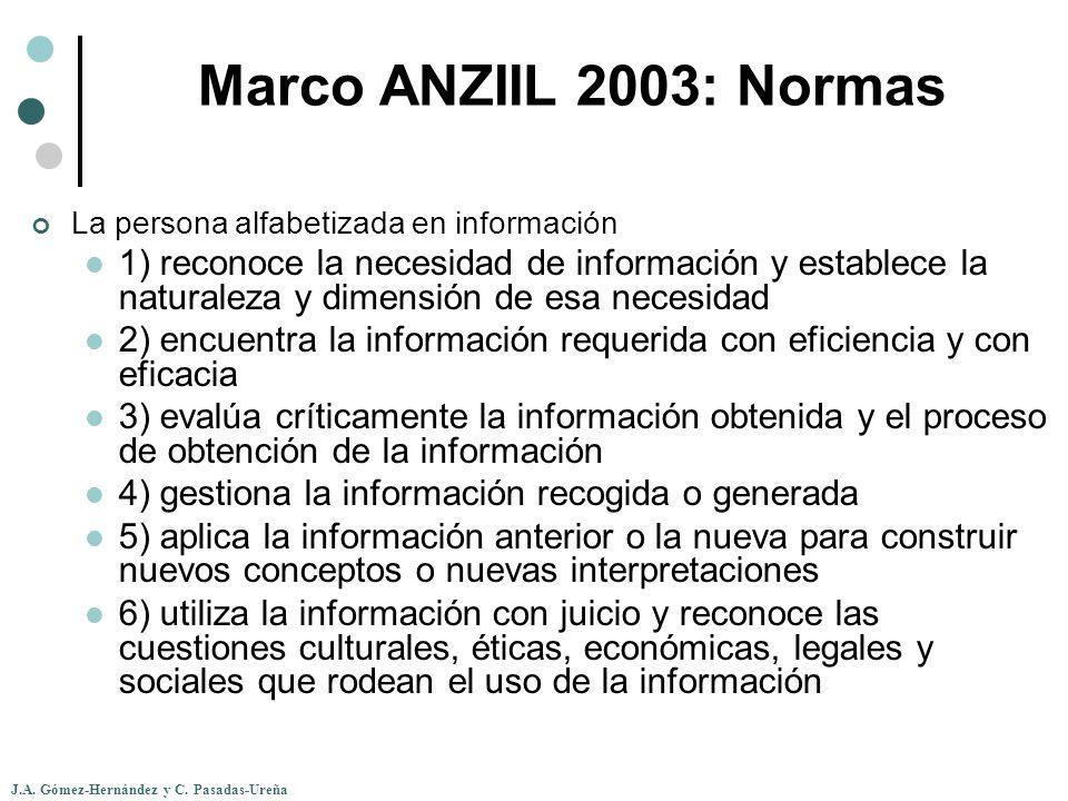 Marco ANZIIL 2003: Normas La persona alfabetizada en información.
