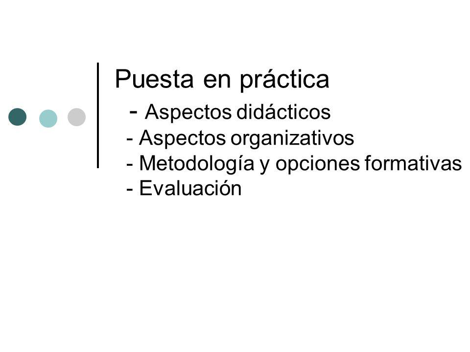 Puesta en práctica - Aspectos didácticos - Aspectos organizativos - Metodología y opciones formativas - Evaluación