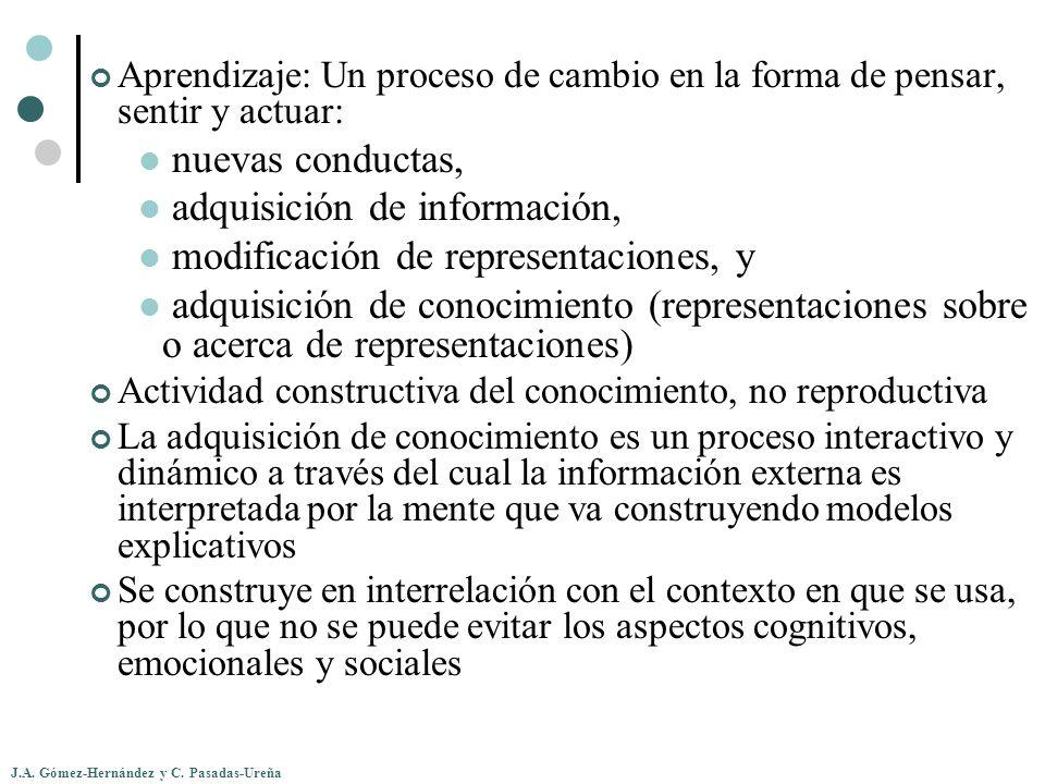 adquisición de información, modificación de representaciones, y