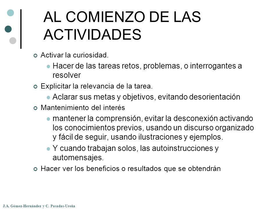 AL COMIENZO DE LAS ACTIVIDADES