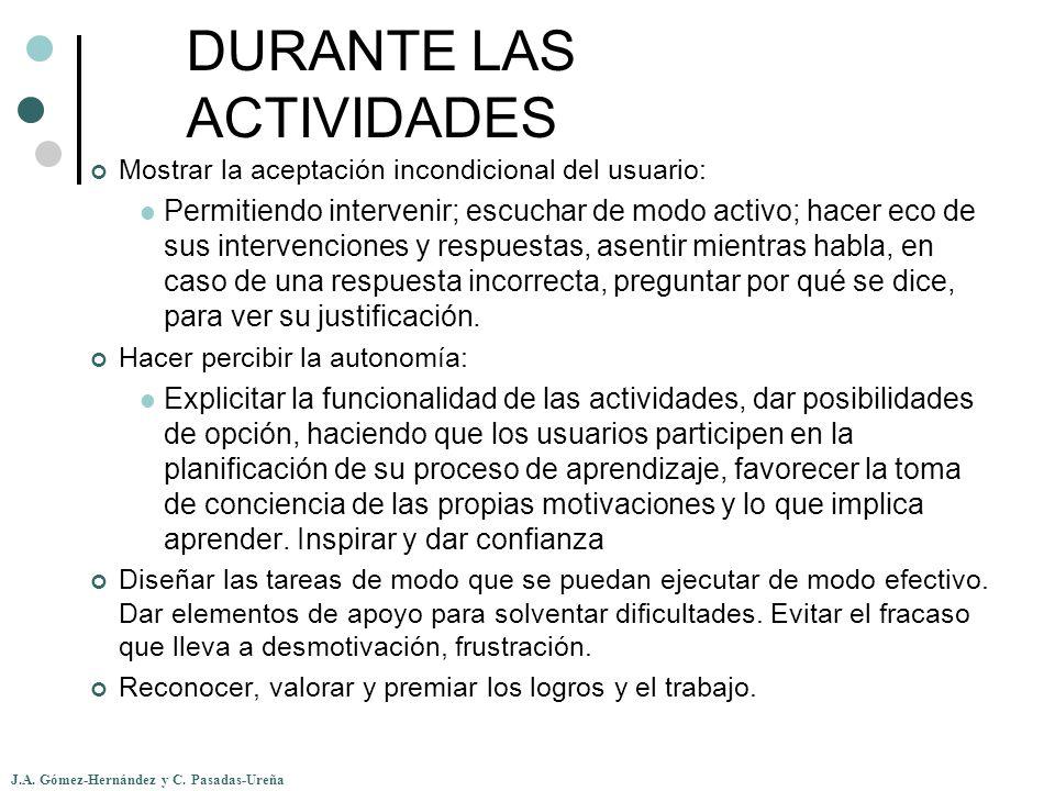 DURANTE LAS ACTIVIDADES