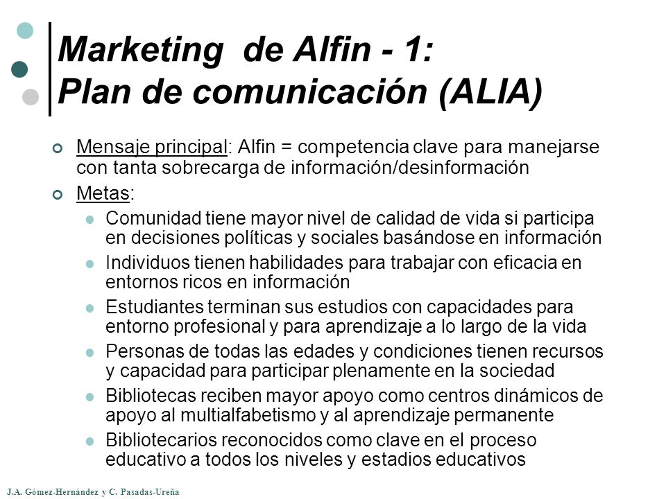 Marketing de Alfin - 1: Plan de comunicación (ALIA)
