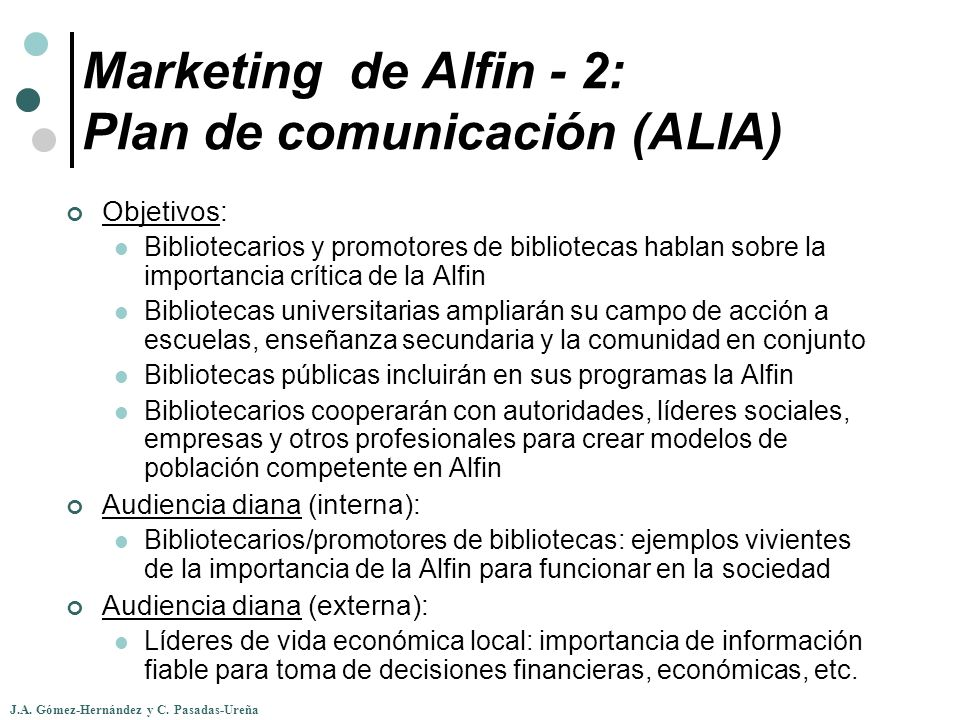 Marketing de Alfin - 2: Plan de comunicación (ALIA)