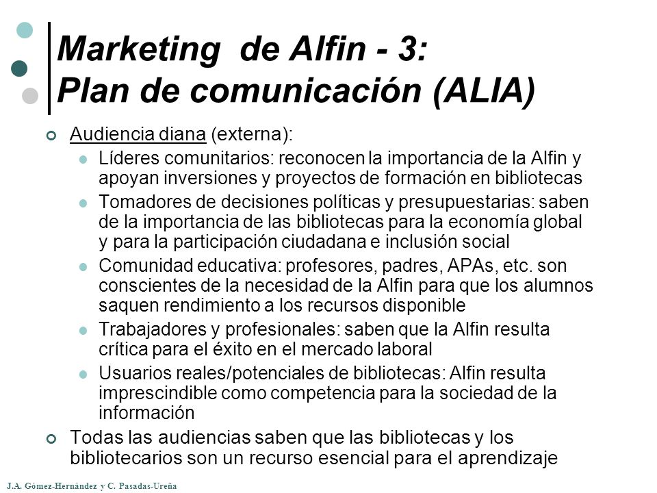 Marketing de Alfin - 3: Plan de comunicación (ALIA)