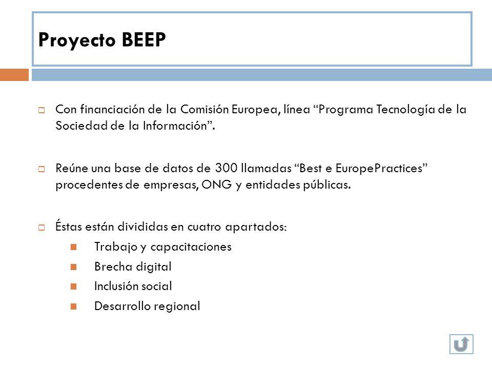 Proyecto BEEP Con financiación de la Comisión Europea, línea Programa Tecnología de la Sociedad de la Información .