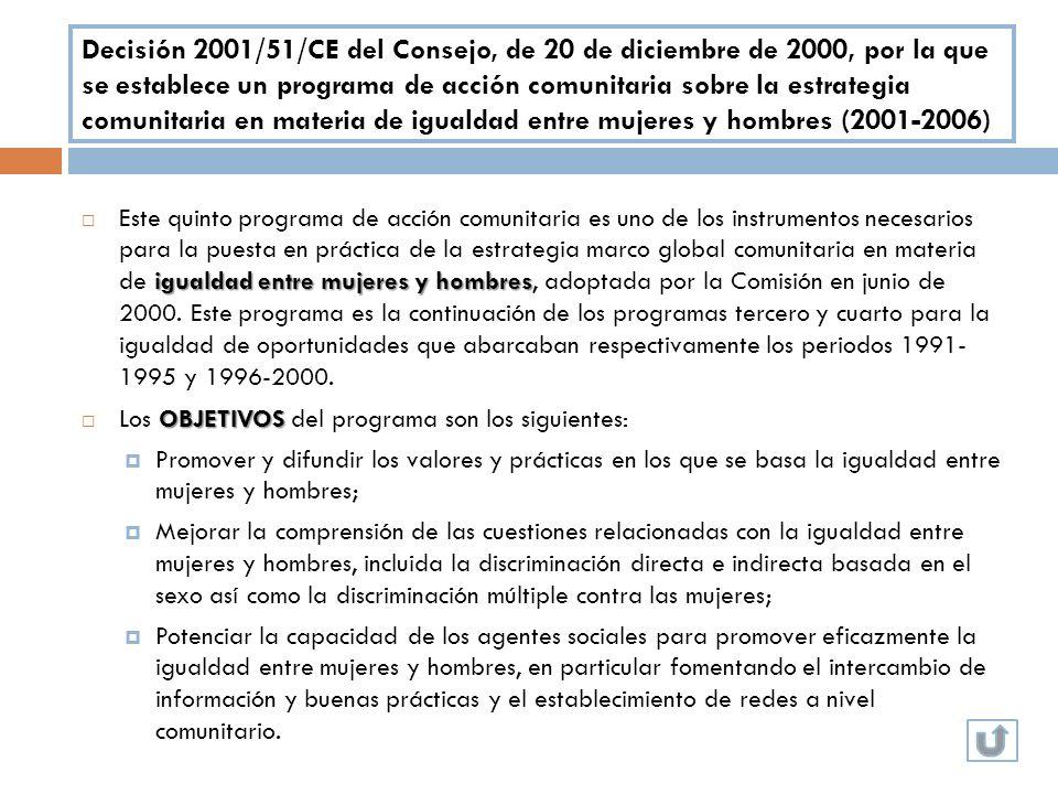 Decisión 2001/51/CE del Consejo, de 20 de diciembre de 2000, por la que se establece un programa de acción comunitaria sobre la estrategia comunitaria en materia de igualdad entre mujeres y hombres (2001-2006)