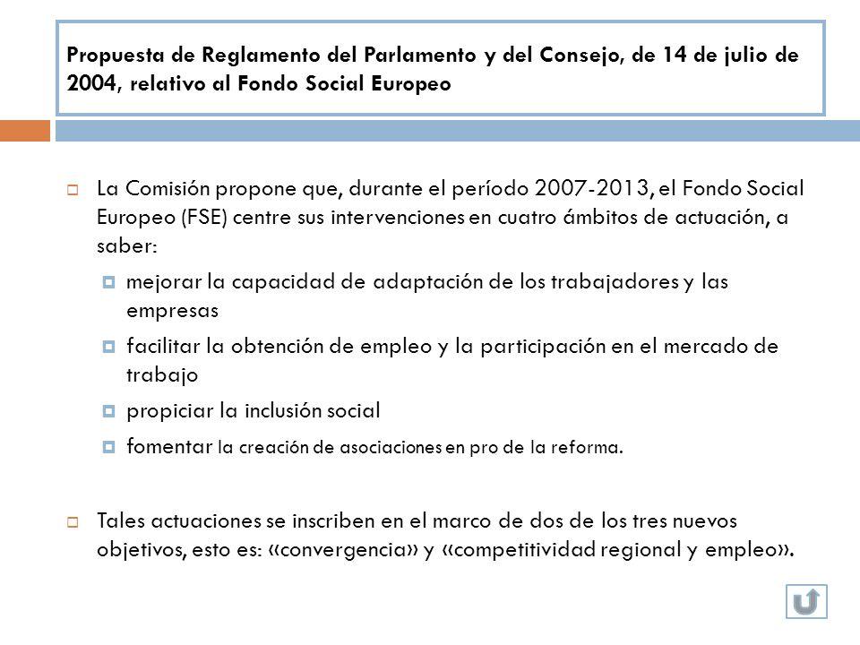 Propuesta de Reglamento del Parlamento y del Consejo, de 14 de julio de 2004, relativo al Fondo Social Europeo