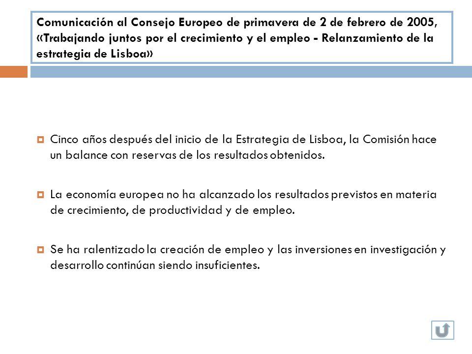 Comunicación al Consejo Europeo de primavera de 2 de febrero de 2005, «Trabajando juntos por el crecimiento y el empleo - Relanzamiento de la estrategia de Lisboa»