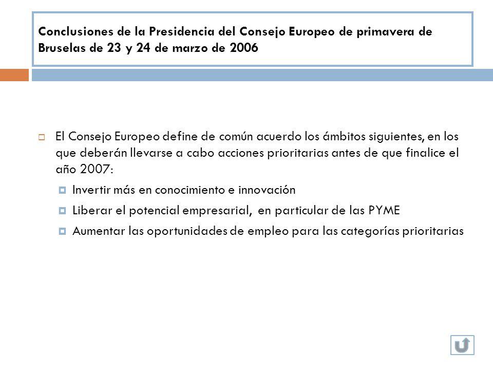 Conclusiones de la Presidencia del Consejo Europeo de primavera de Bruselas de 23 y 24 de marzo de 2006
