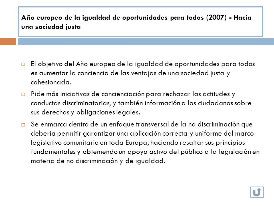 Año europeo de la igualdad de oportunidades para todos (2007) - Hacia una sociedad justa