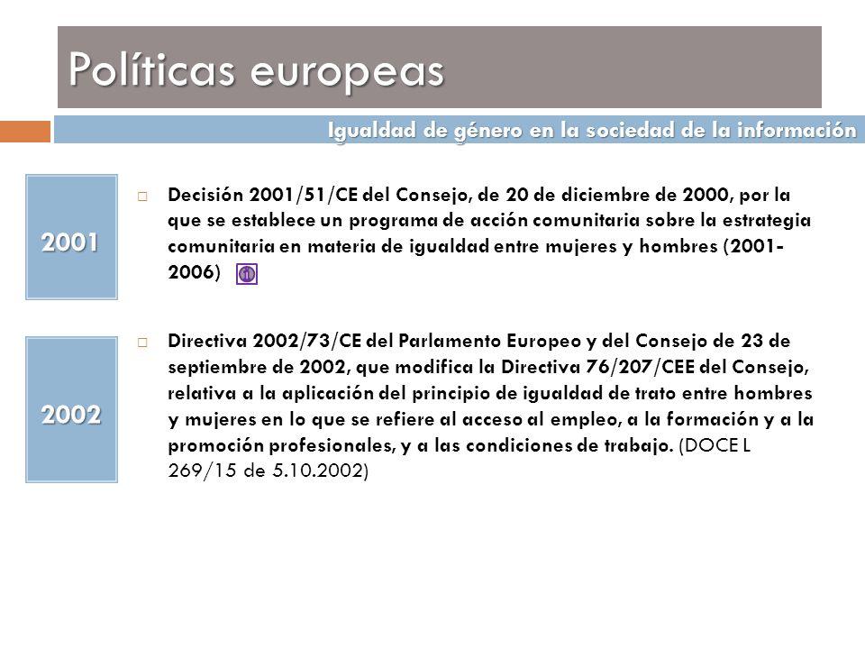 Políticas europeas Igualdad de género en la sociedad de la información. Igualdad de género en la sociedad de la información.