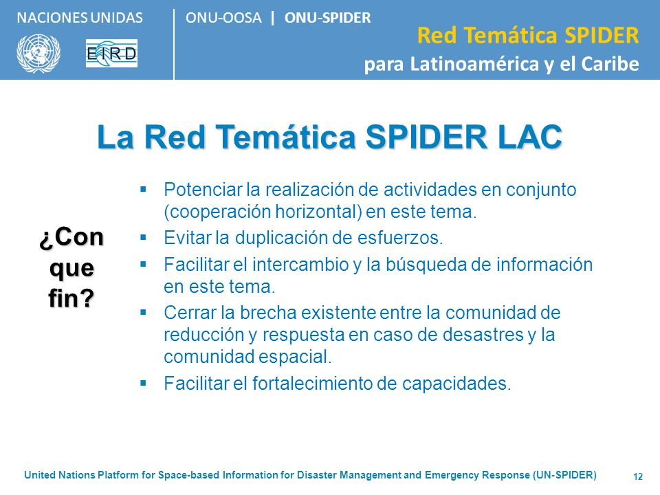 La Red Temática SPIDER LAC
