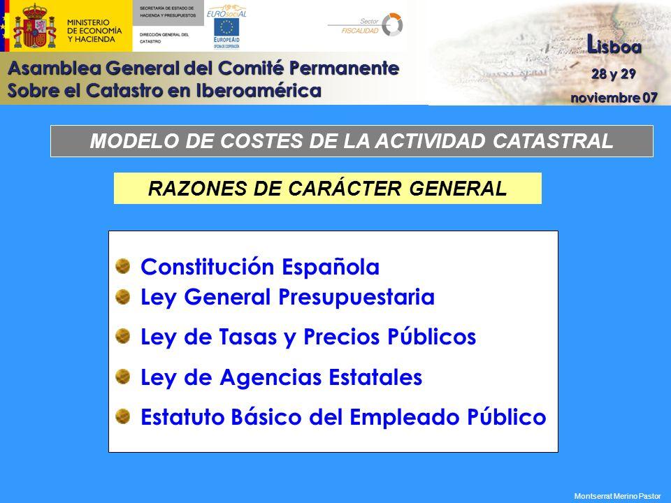 MODELO DE COSTES DE LA ACTIVIDAD CATASTRAL RAZONES DE CARÁCTER GENERAL