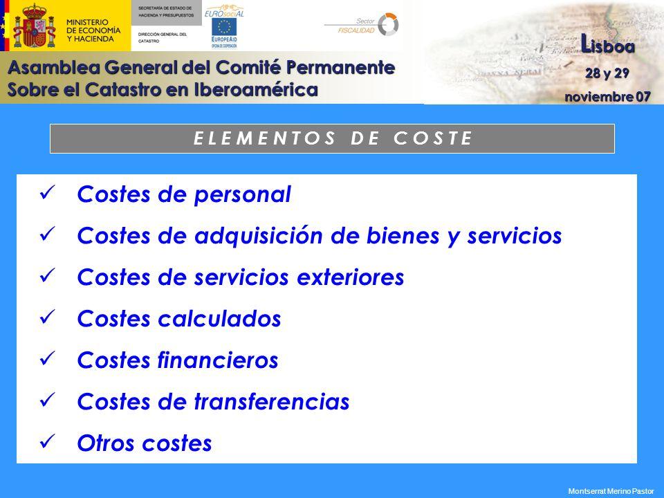 Costes de adquisición de bienes y servicios