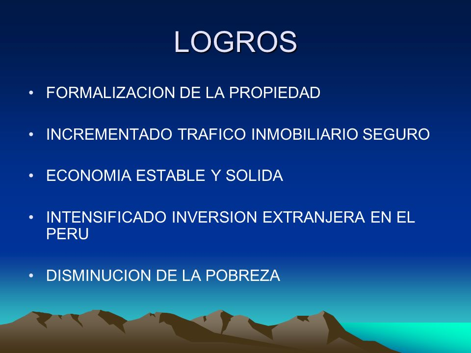 LOGROS FORMALIZACION DE LA PROPIEDAD