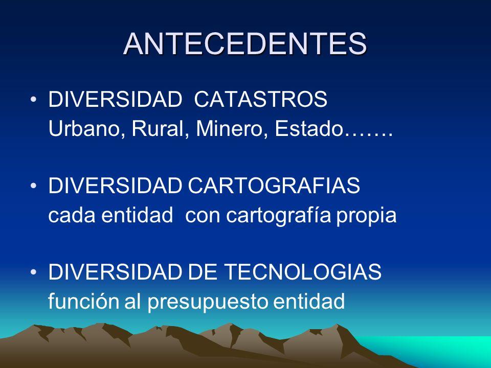 ANTECEDENTES DIVERSIDAD CATASTROS Urbano, Rural, Minero, Estado…….