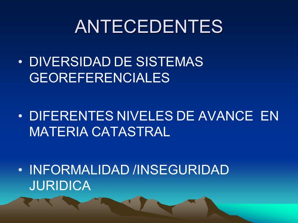 ANTECEDENTES DIVERSIDAD DE SISTEMAS GEOREFERENCIALES