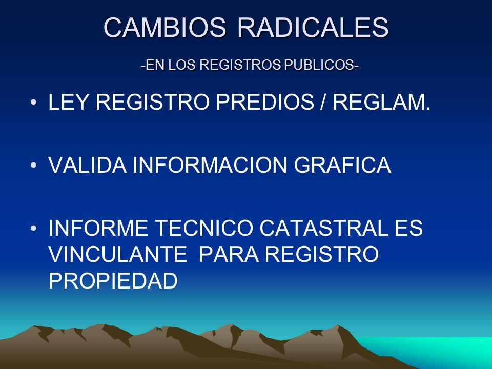 CAMBIOS RADICALES -EN LOS REGISTROS PUBLICOS-