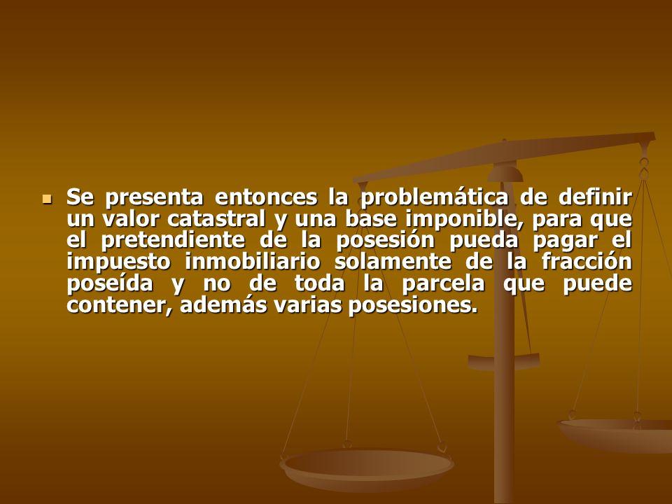 Se presenta entonces la problemática de definir un valor catastral y una base imponible, para que el pretendiente de la posesión pueda pagar el impuesto inmobiliario solamente de la fracción poseída y no de toda la parcela que puede contener, además varias posesiones.
