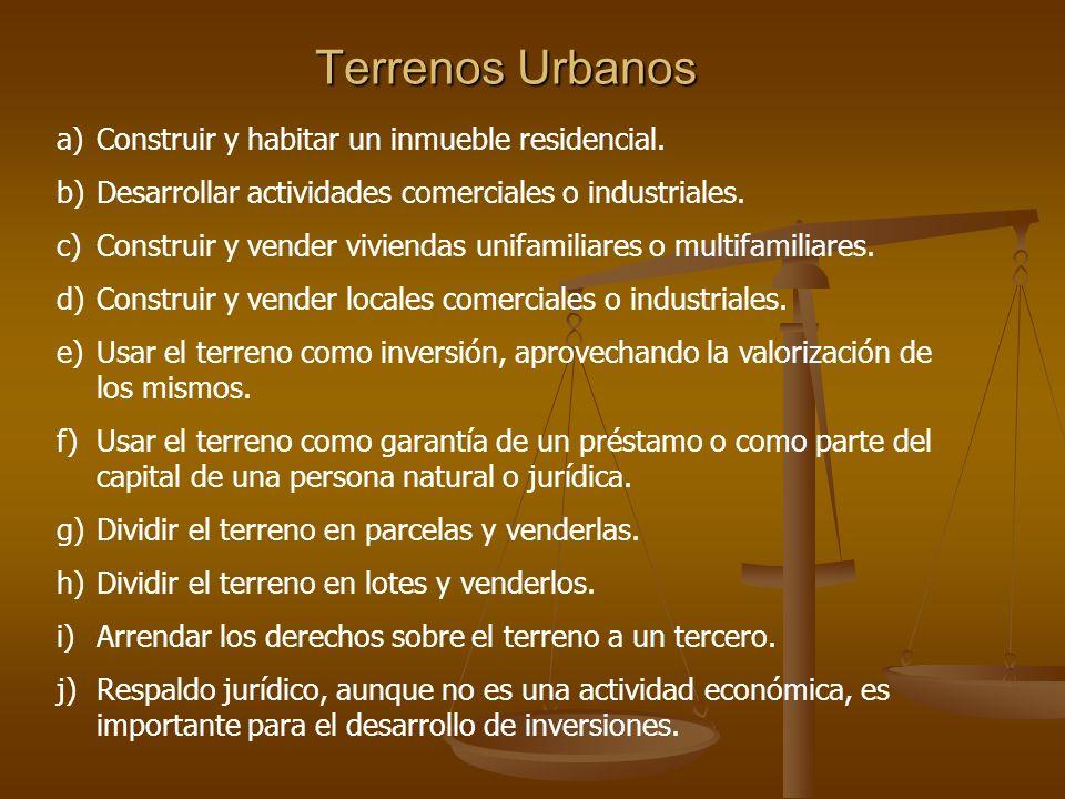 Terrenos Urbanos Construir y habitar un inmueble residencial.