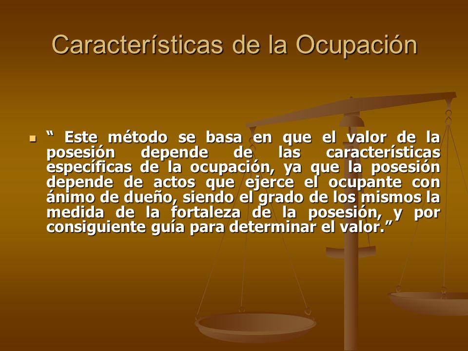 Características de la Ocupación