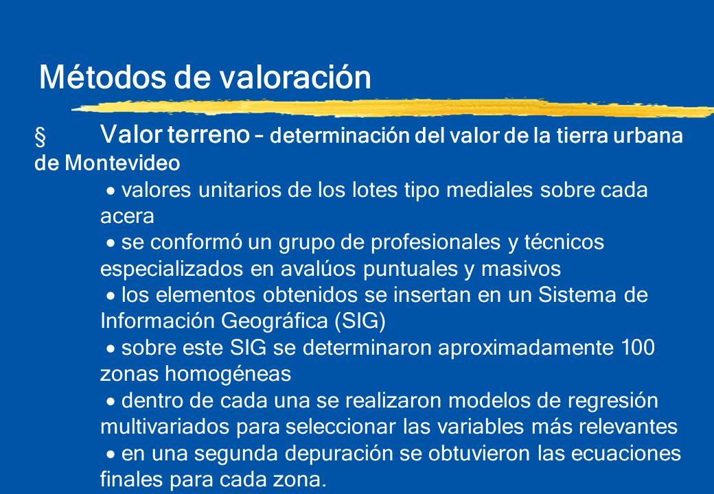 Métodos de valoración § Valor terreno – determinación del valor de la tierra urbana de Montevideo.