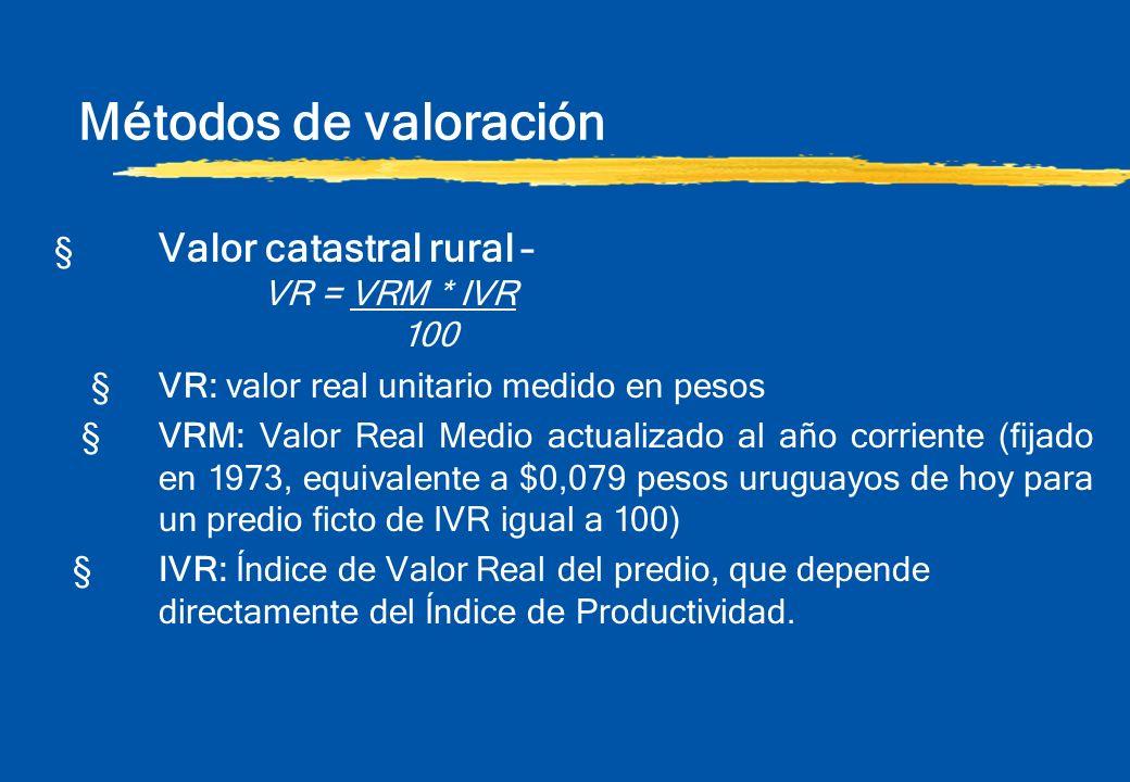 Métodos de valoración § Valor catastral rural – VR = VRM * IVR 100